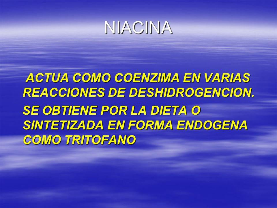 NIACINA ACTUA COMO COENZIMA EN VARIAS REACCIONES DE DESHIDROGENCION.