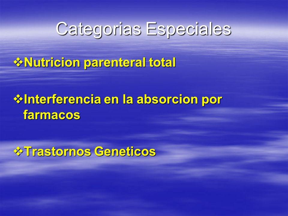 Categorias Especiales
