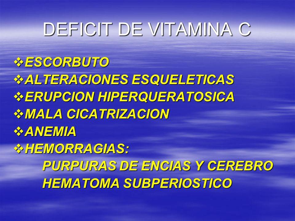 DEFICIT DE VITAMINA C ESCORBUTO ALTERACIONES ESQUELETICAS