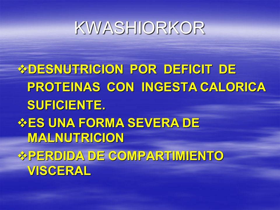 KWASHIORKOR DESNUTRICION POR DEFICIT DE PROTEINAS CON INGESTA CALORICA