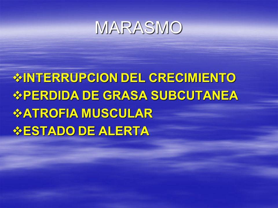 MARASMO INTERRUPCION DEL CRECIMIENTO PERDIDA DE GRASA SUBCUTANEA