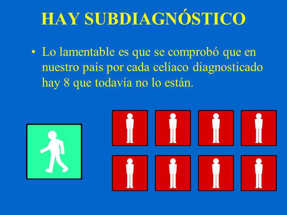 HAY SUBDIAGNÓSTICO Lo lamentable es que se comprobó que en nuestro país por cada celíaco diagnosticado hay 8 que todavía no lo están.