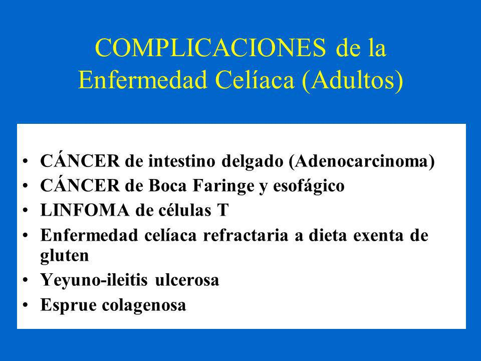 COMPLICACIONES de la Enfermedad Celíaca (Adultos)