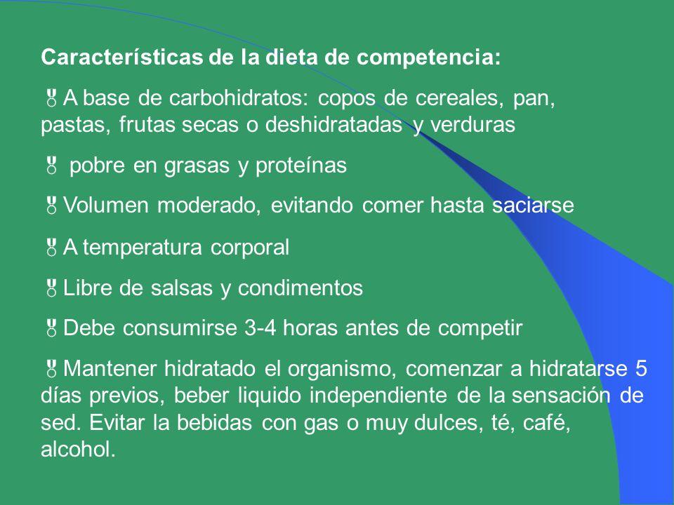 Características de la dieta de competencia:
