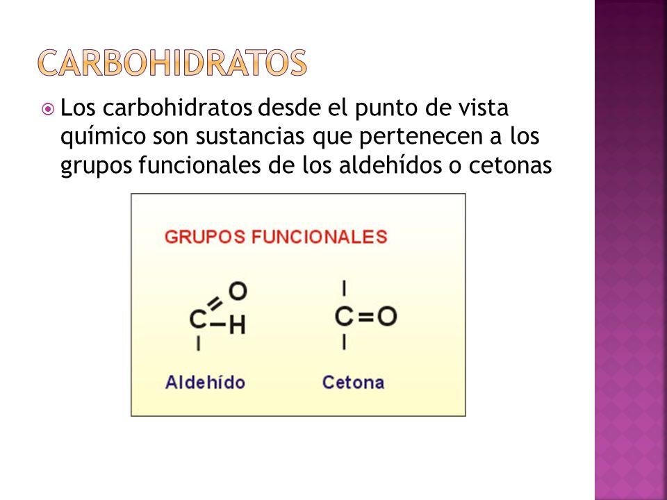 Carbohidratos Los carbohidratos desde el punto de vista químico son sustancias que pertenecen a los grupos funcionales de los aldehídos o cetonas.