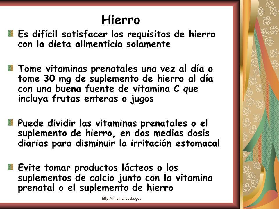 Hierro Es difícil satisfacer los requisitos de hierro con la dieta alimenticia solamente.