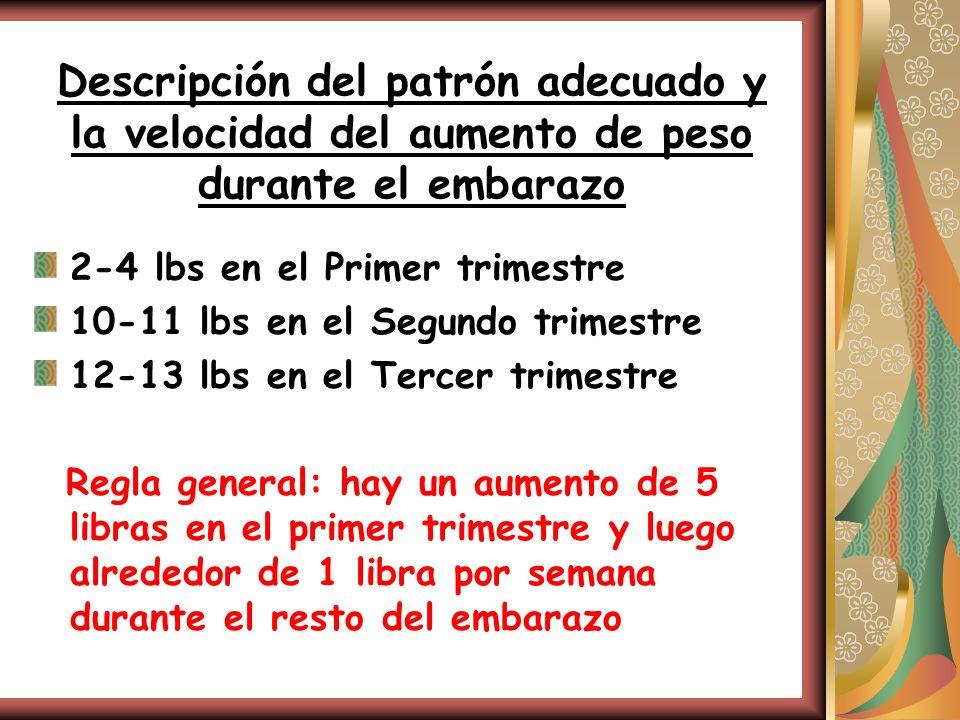 Descripción del patrón adecuado y la velocidad del aumento de peso durante el embarazo