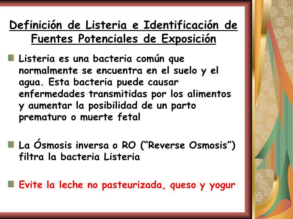 Definición de Listeria e Identificación de Fuentes Potenciales de Exposición