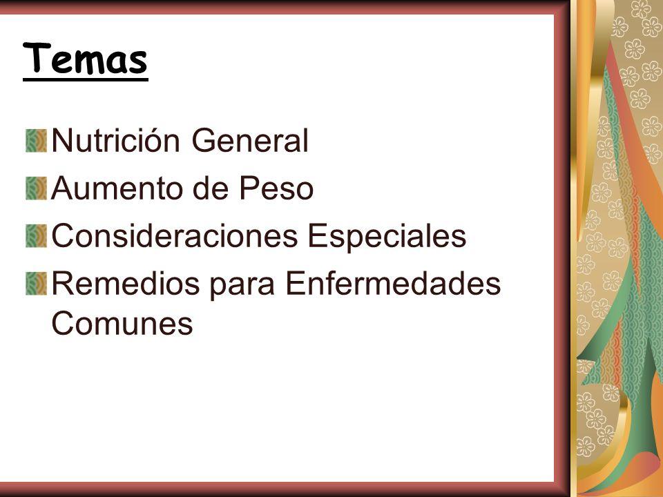 Temas Nutrición General Aumento de Peso Consideraciones Especiales