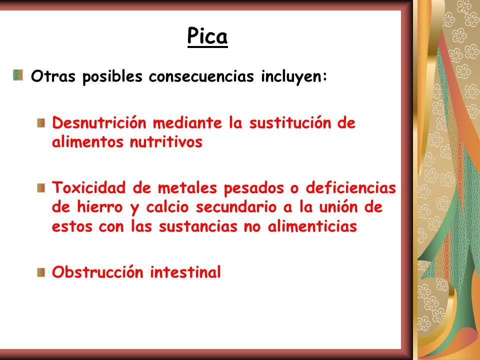 Pica Otras posibles consecuencias incluyen: