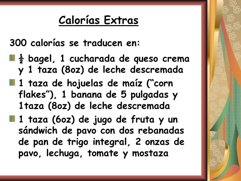 Calorías Extras 300 calorías se traducen en: