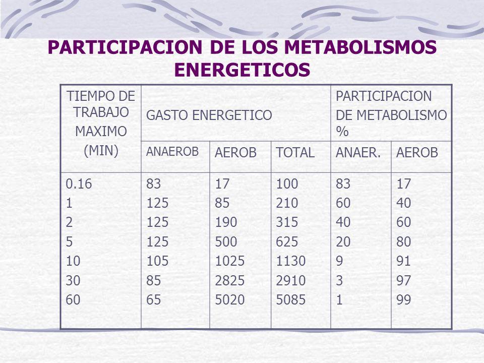PARTICIPACION DE LOS METABOLISMOS ENERGETICOS