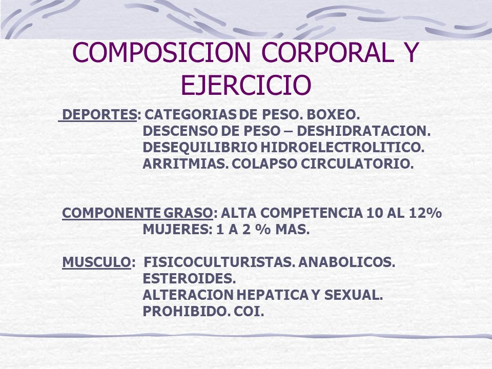 COMPOSICION CORPORAL Y EJERCICIO