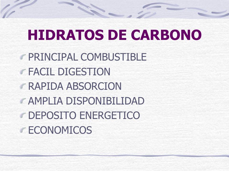 HIDRATOS DE CARBONO PRINCIPAL COMBUSTIBLE FACIL DIGESTION