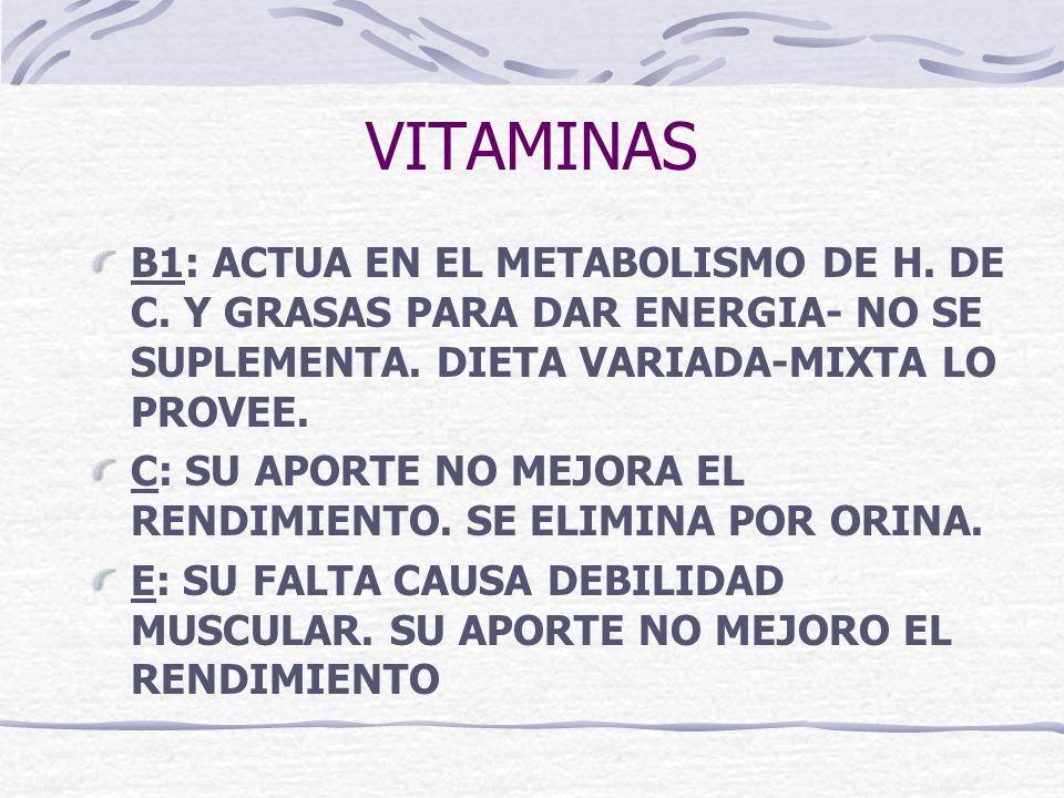 VITAMINAS B1: ACTUA EN EL METABOLISMO DE H. DE C. Y GRASAS PARA DAR ENERGIA- NO SE SUPLEMENTA. DIETA VARIADA-MIXTA LO PROVEE.