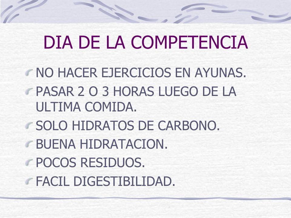 DIA DE LA COMPETENCIA NO HACER EJERCICIOS EN AYUNAS.