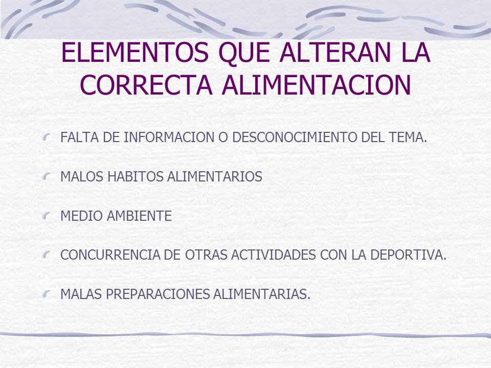 ELEMENTOS QUE ALTERAN LA CORRECTA ALIMENTACION