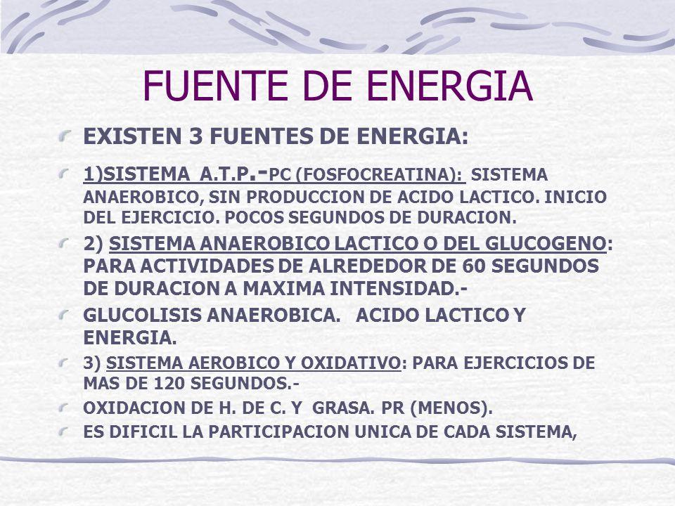 FUENTE DE ENERGIA EXISTEN 3 FUENTES DE ENERGIA: