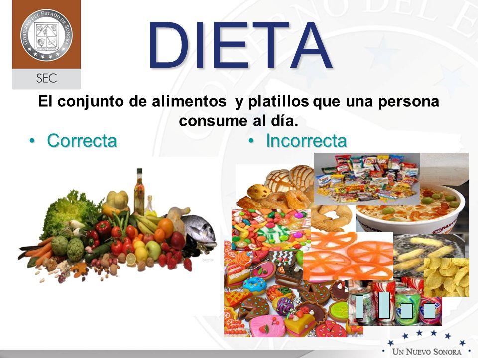 El conjunto de alimentos y platillos que una persona consume al día.