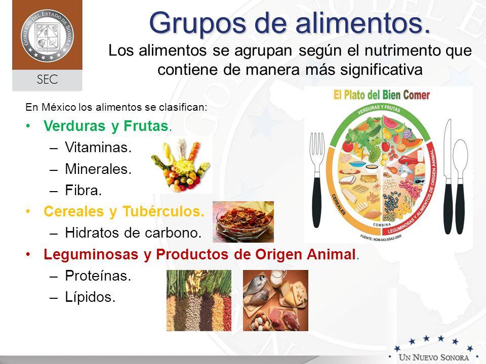 Grupos de alimentos. Los alimentos se agrupan según el nutrimento que contiene de manera más significativa