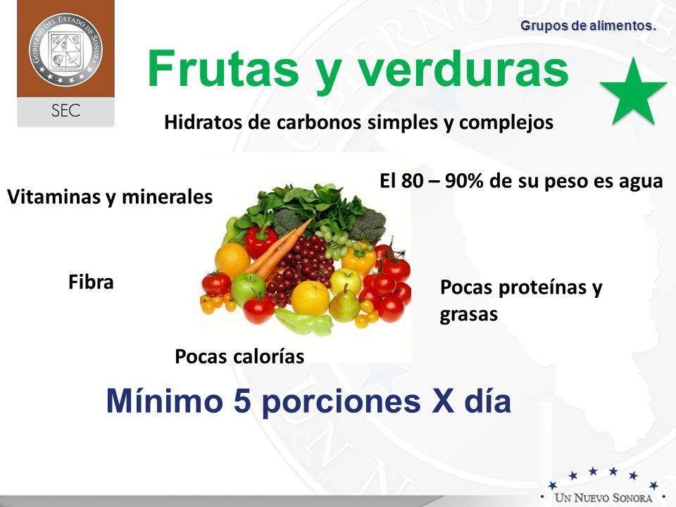 Frutas y verduras Mínimo 5 porciones X día