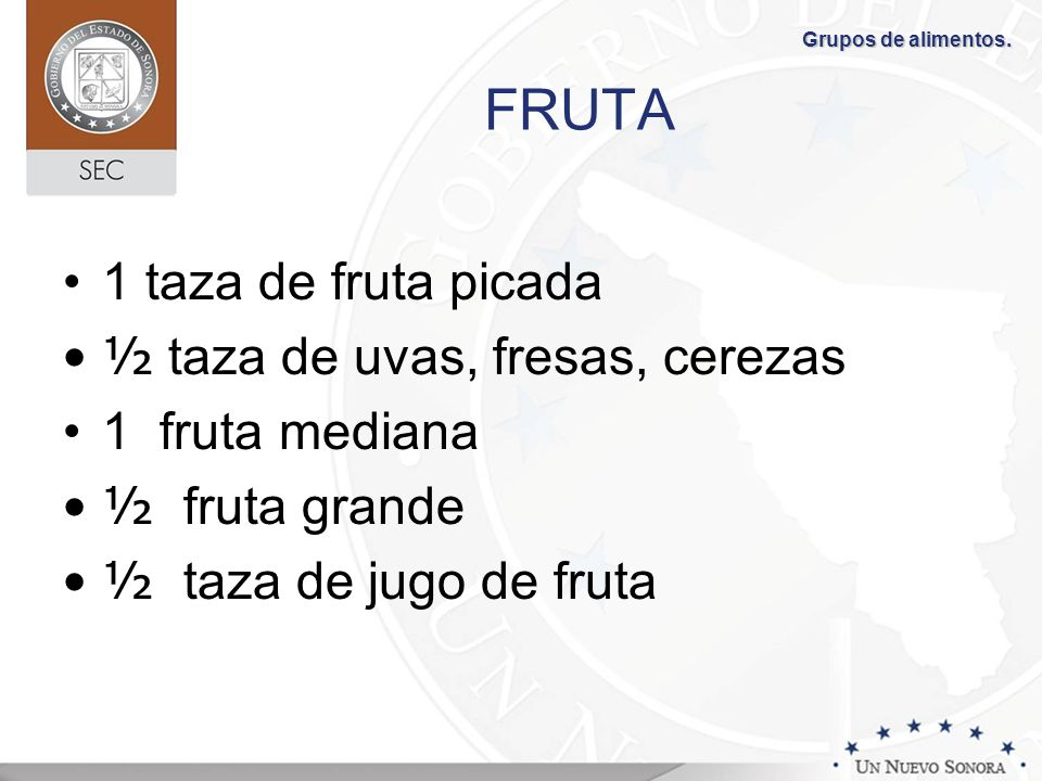 FRUTA 1 taza de fruta picada ½ taza de uvas, fresas, cerezas