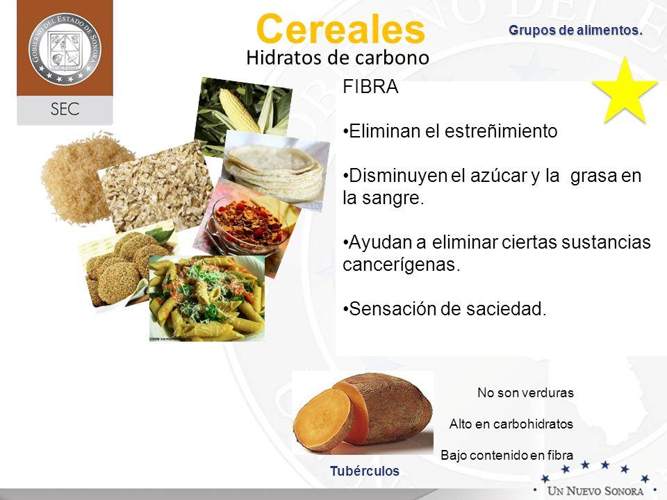 Cereales Hidratos de carbono FIBRA Eliminan el estreñimiento