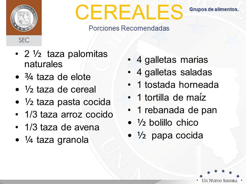 CEREALES Porciones Recomendadas