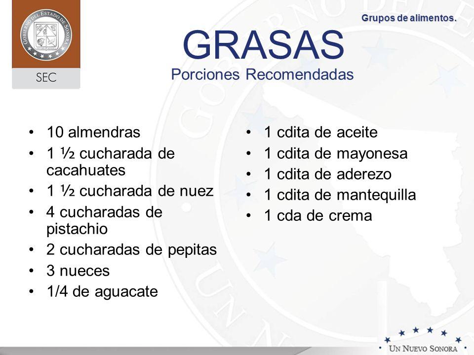 GRASAS Porciones Recomendadas 10 almendras 1 ½ cucharada de cacahuates