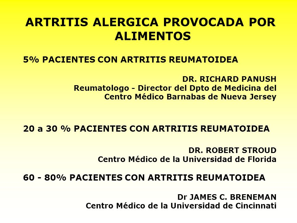 ARTRITIS ALERGICA PROVOCADA POR