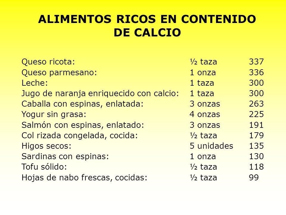 ALIMENTOS RICOS EN CONTENIDO DE CALCIO