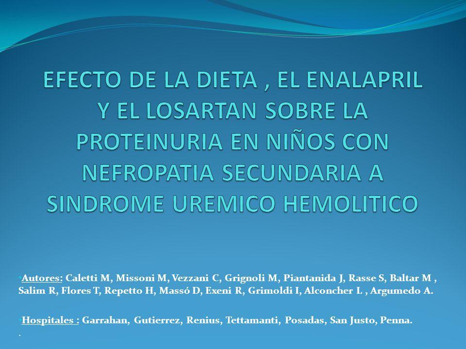 EFECTO DE LA DIETA , EL ENALAPRIL Y EL LOSARTAN SOBRE LA PROTEINURIA EN NIÑOS CON NEFROPATIA SECUNDARIA A SINDROME UREMICO HEMOLITICO