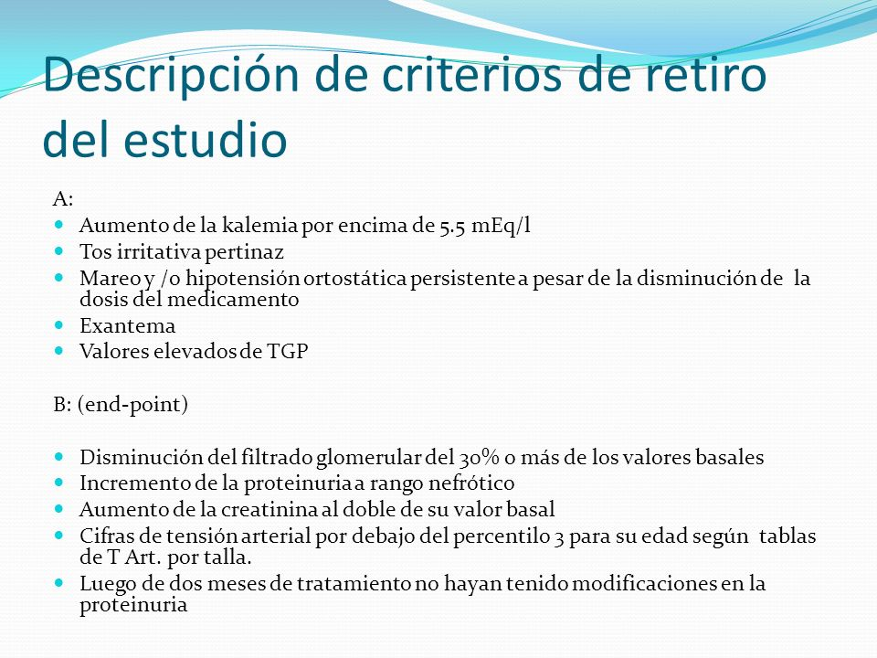 Descripción de criterios de retiro del estudio