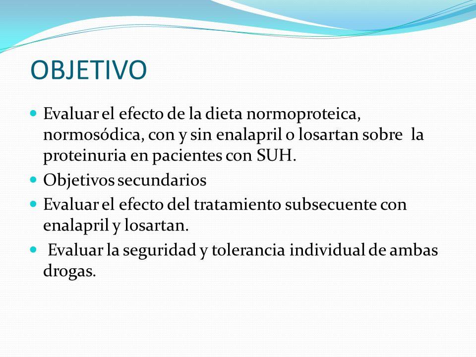 OBJETIVO Evaluar el efecto de la dieta normoproteica, normosódica, con y sin enalapril o losartan sobre la proteinuria en pacientes con SUH.