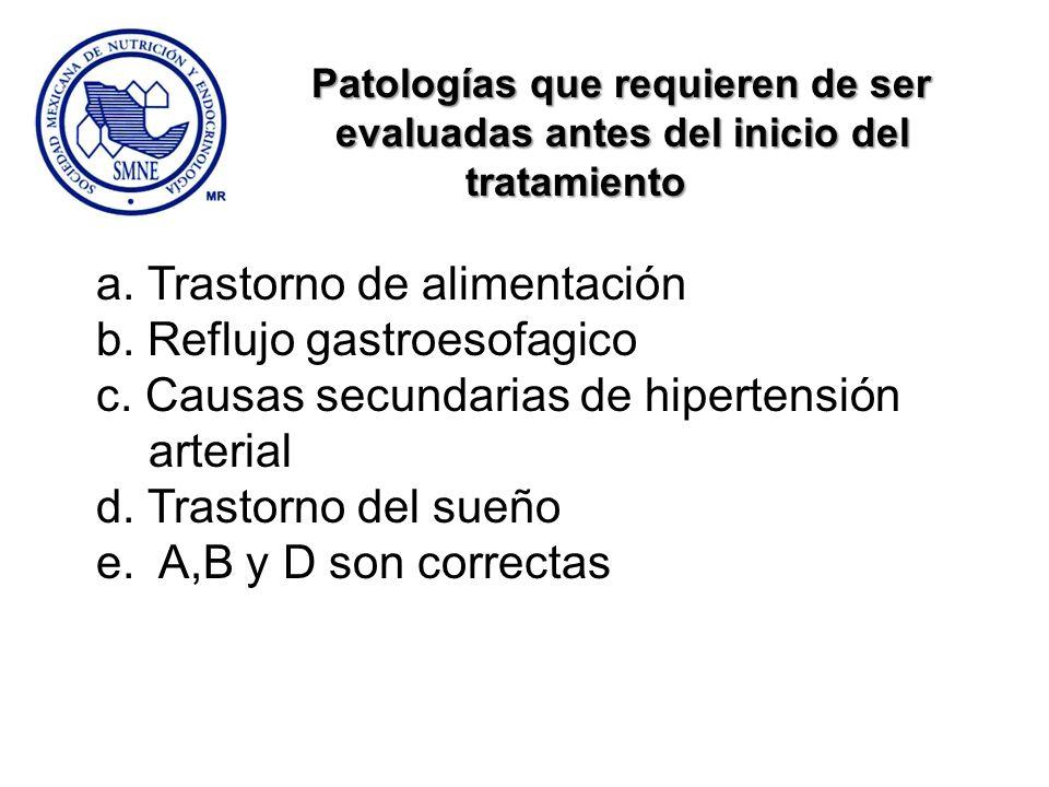 evaluadas antes del inicio del tratamiento