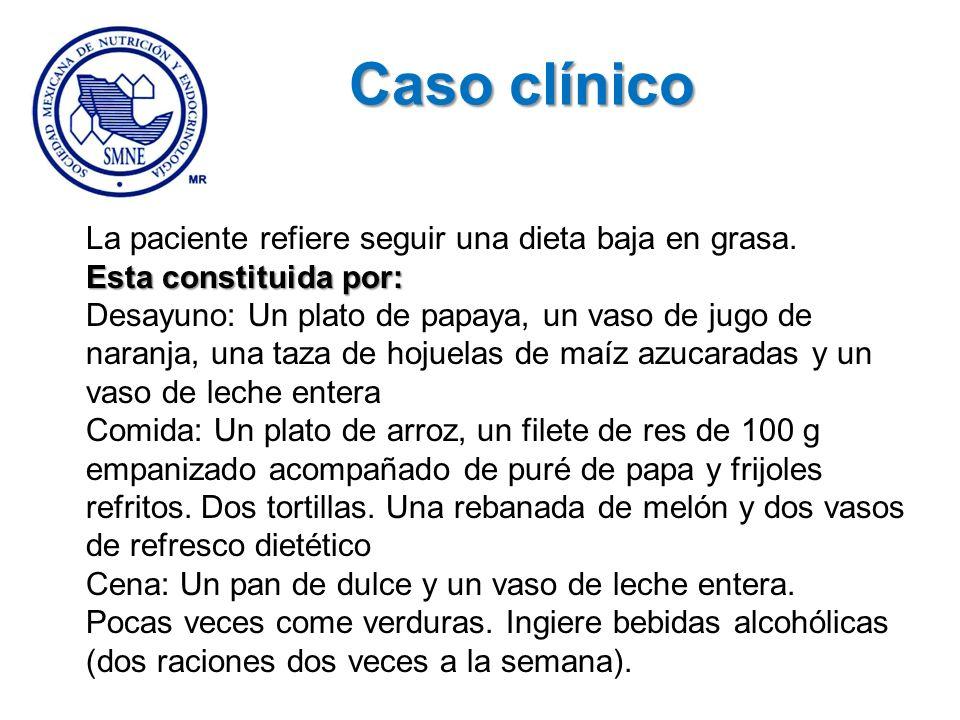 Caso clínico La paciente refiere seguir una dieta baja en grasa.
