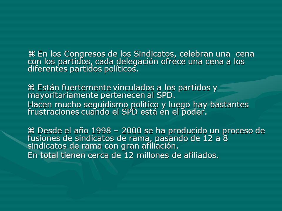  En los Congresos de los Sindicatos, celebran una cena con los partidos, cada delegación ofrece una cena a los diferentes partidos políticos.
