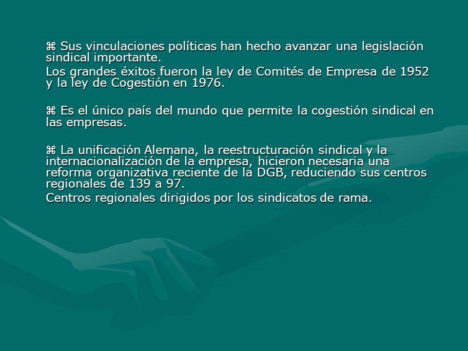 Centros regionales dirigidos por los sindicatos de rama.