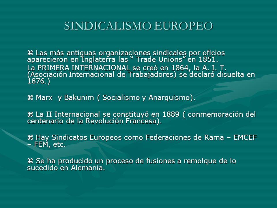 SINDICALISMO EUROPEO  Las más antiguas organizaciones sindicales por oficios aparecieron en Inglaterra las Trade Unions en 1851.