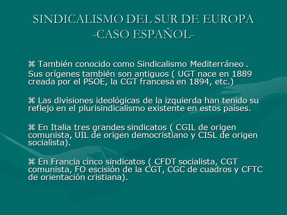 SINDICALISMO DEL SUR DE EUROPA -CASO ESPAÑOL-