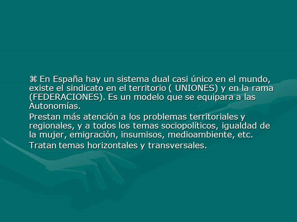  En España hay un sistema dual casi único en el mundo, existe el sindicato en el territorio ( UNIONES) y en la rama (FEDERACIONES). Es un modelo que se equipara a las Autonomías.