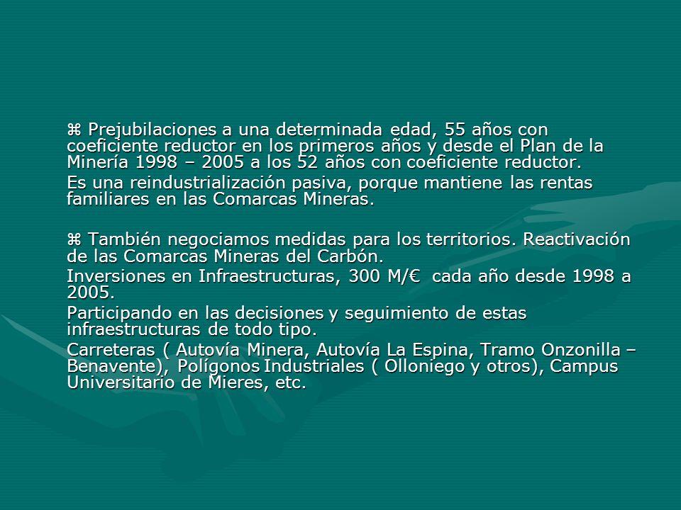  Prejubilaciones a una determinada edad, 55 años con coeficiente reductor en los primeros años y desde el Plan de la Minería 1998 – 2005 a los 52 años con coeficiente reductor.