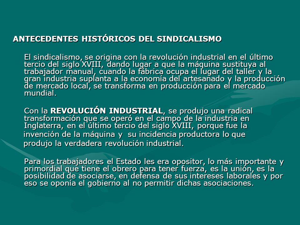 ANTECEDENTES HISTÓRICOS DEL SINDICALISMO