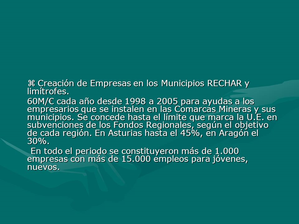  Creación de Empresas en los Municipios RECHAR y limítrofes.