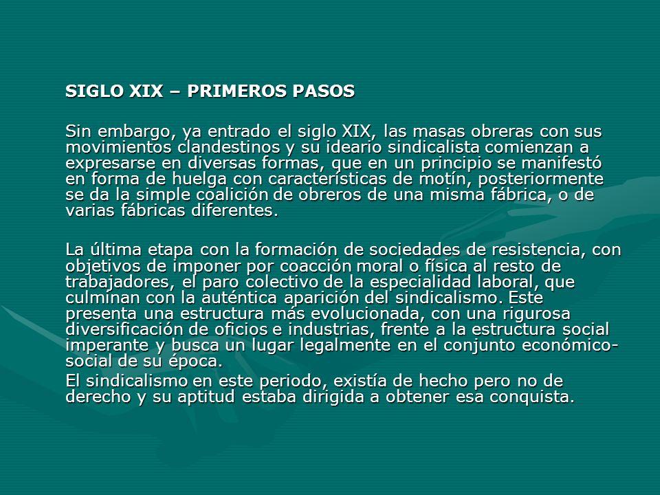 SIGLO XIX – PRIMEROS PASOS