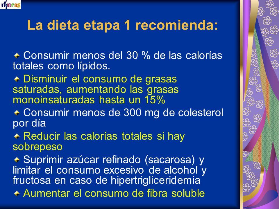 La dieta etapa 1 recomienda: