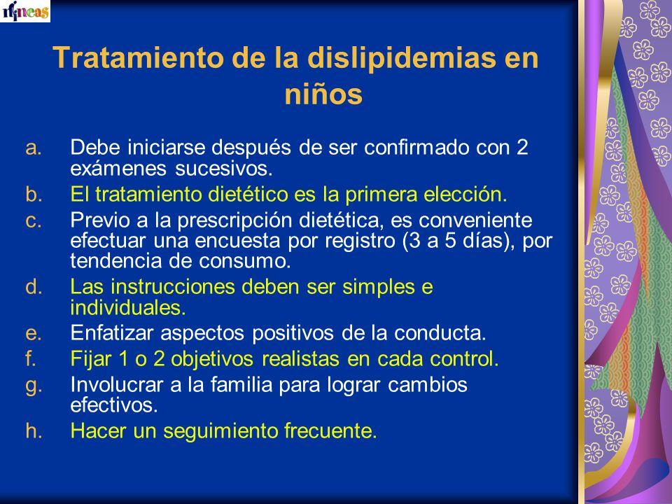Tratamiento de la dislipidemias en niños