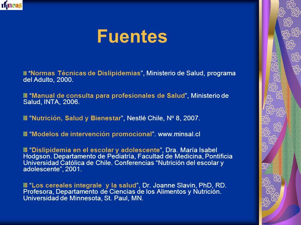Fuentes Normas Técnicas de Dislipidemias , Ministerio de Salud, programa del Adulto, 2000.