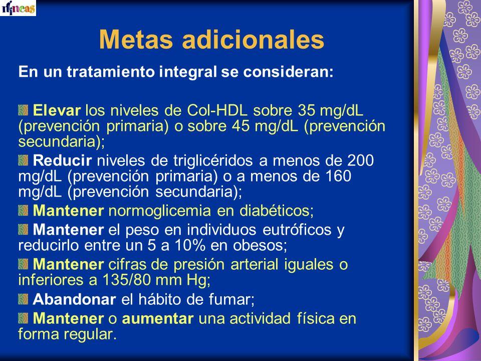 Metas adicionales En un tratamiento integral se consideran: