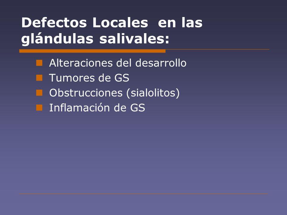 Defectos Locales en las glándulas salivales: